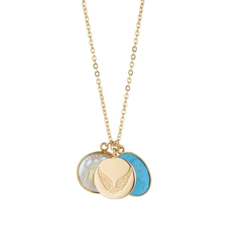 Pearl & Turquoise Necklace With Disc Charm for Friendship & Integrity