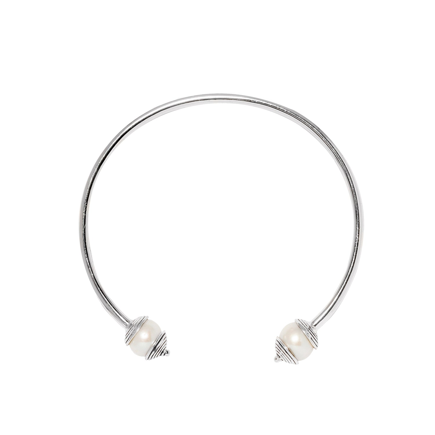 925 Silver Freshwater Pearl Bangle for Purity, Harmony & Humility