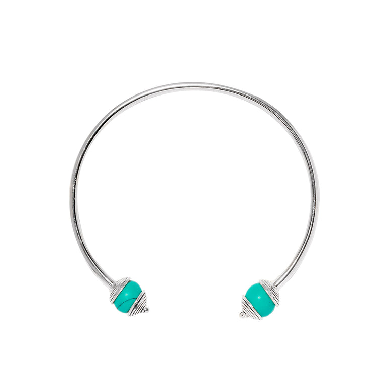925 Silver & Turquoise Bangle For Luck, Protection & Health