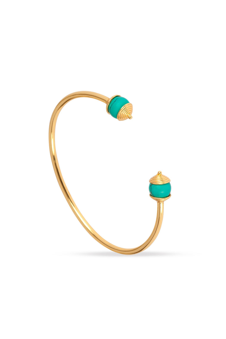 Turquoise & Gold Bangle For Luck, Protection & Health