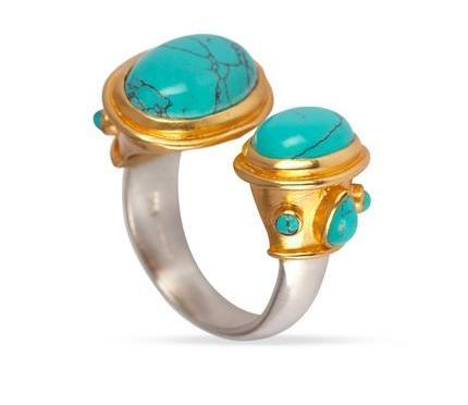 925 Silver & Gold Turquoise Double Ring for Luck, Protection & Health