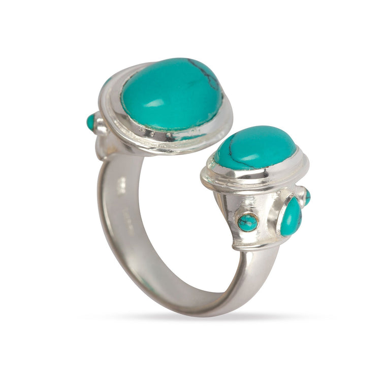 925 Silver Turquoise & Silver Double Ring for Luck, Protection & Health