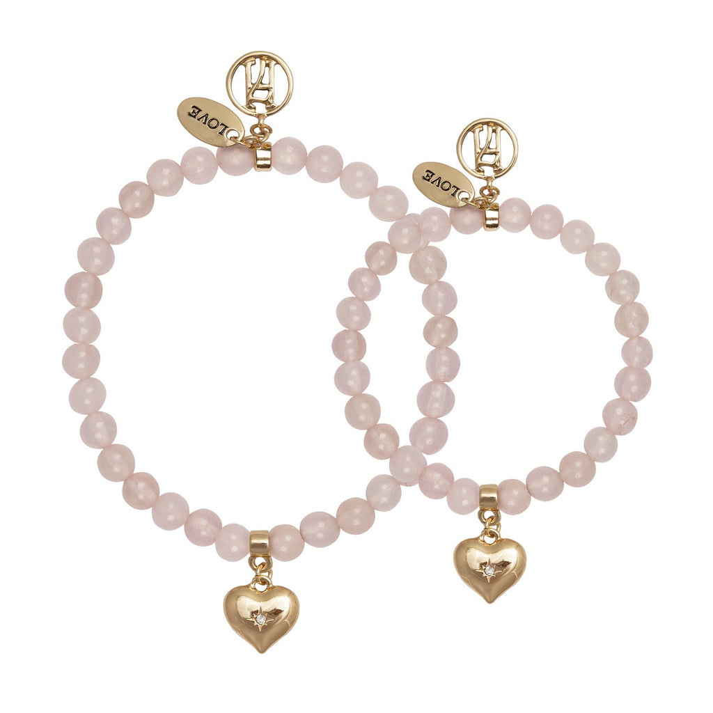 Rose-Quartz LOVE Bracelet with Charm for Passion & Relationships