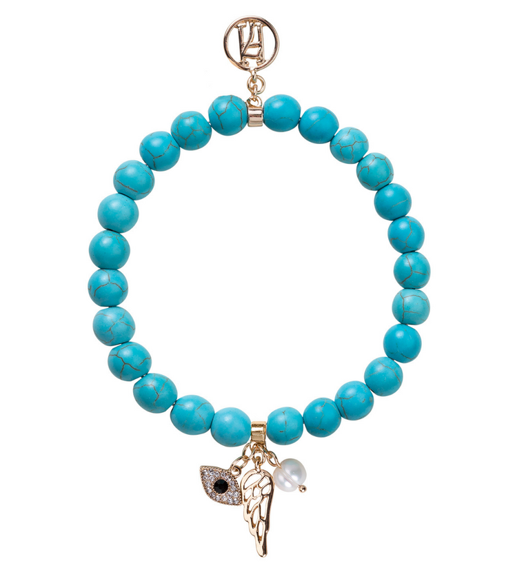 Larger Beaded Turquoise 3rd Eye Bracelet For Luck, Protection & Health