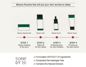 SOME BY MI 30 Days Miracle Starter Kit (Soap + Toner + Serum + Cream) - steps defined