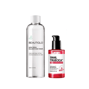 BEAUTIQLO & SOME BY MI Balancing Toner Plus Snail truecica Serum Set