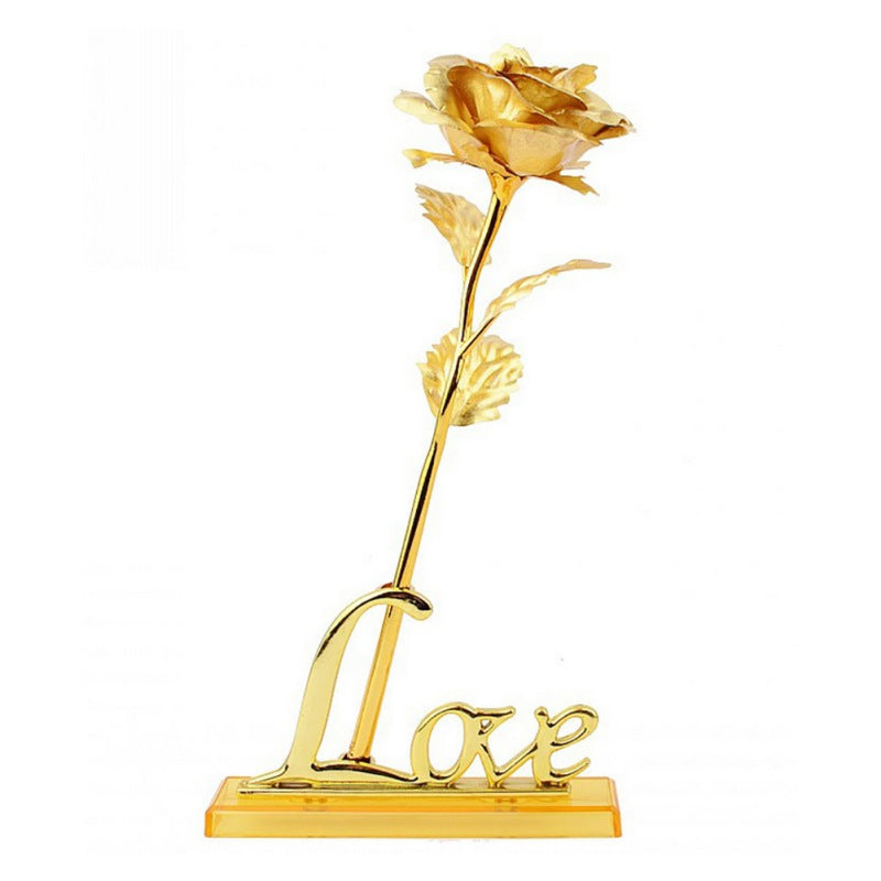 Gold Plated Rose With Love Holder and Gift Box