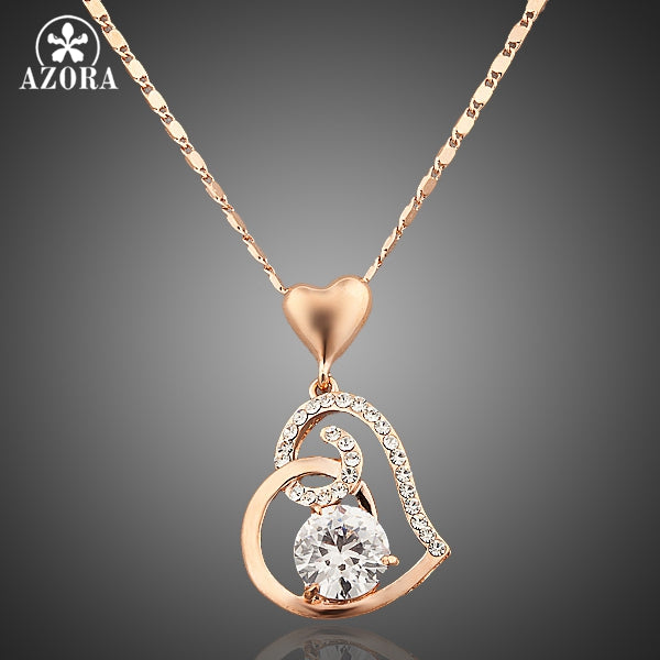 Rose Gold Crystal Heart Pendant Necklace