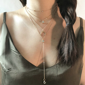 Long Chain Pendant Crescent Moon Necklace