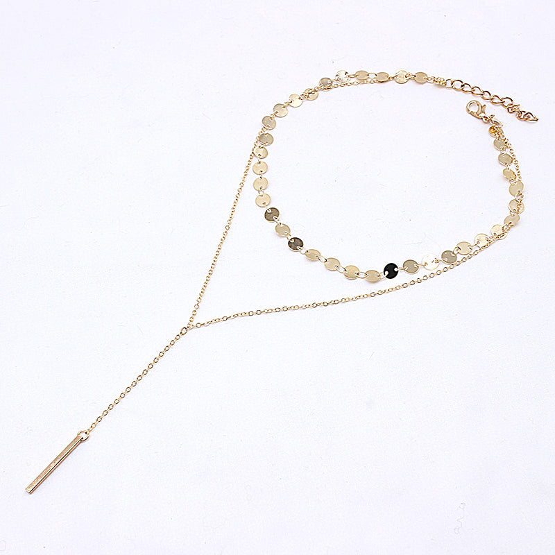 Coin Choker With Disc Drop Long Y Chain Necklace