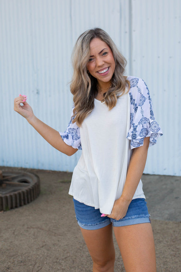 Royal Delft Ruffle Sleeve Top