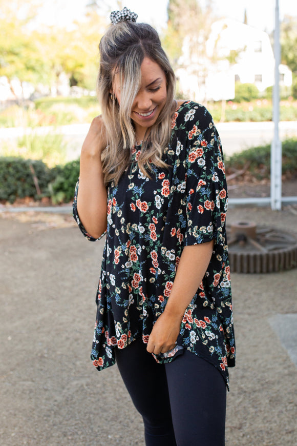 Night Blossoms Short Sleeve Top