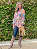 Prismatic Long Sleeve Cold Shoulder
