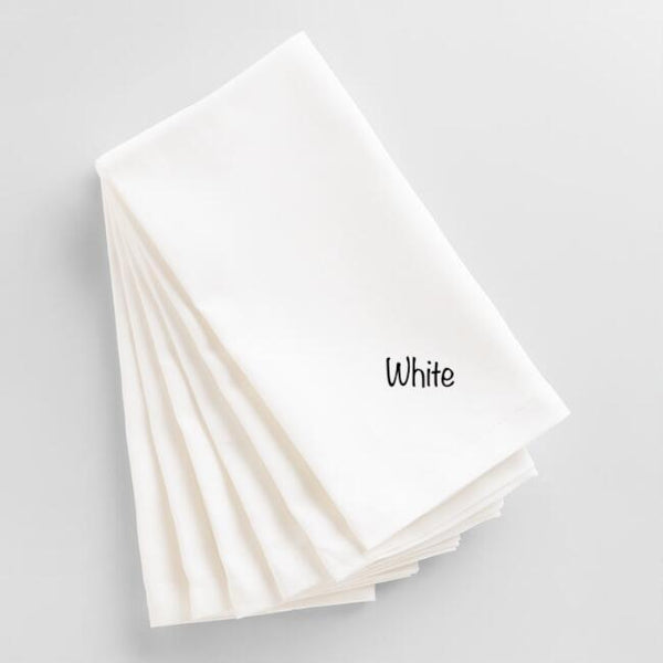 Set of Six Dinner Napkins with Swirl Font