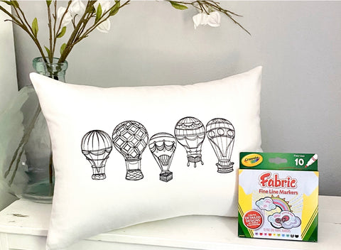 For A Cause Coloring Hot Air Balloon Pillow