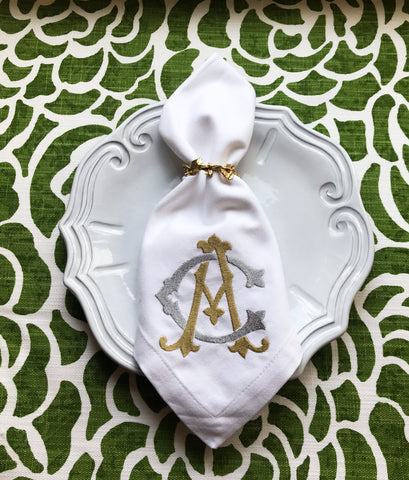 Set of 6 Dinner Napkins with Two Initial Monogram