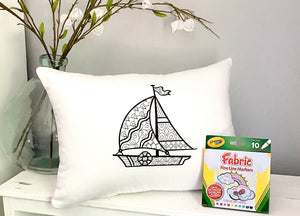 For A Cause Coloring Sailboat Pillow