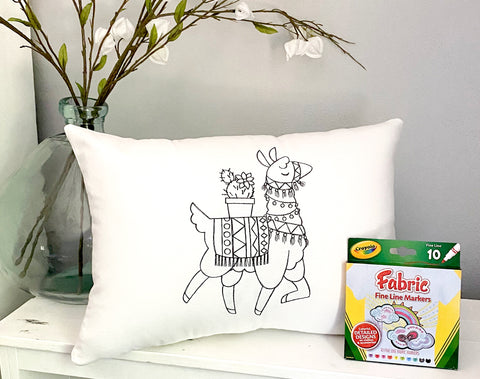 For A Cause Coloring Llama Pillow