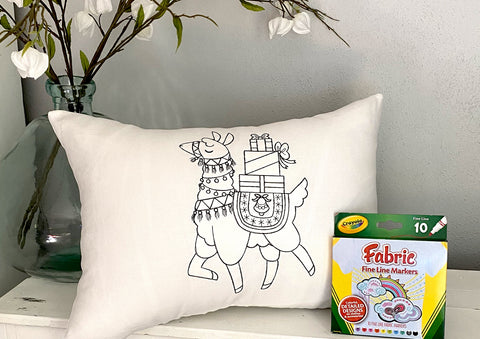 For A Cause Coloring Christmas Llama Pillow