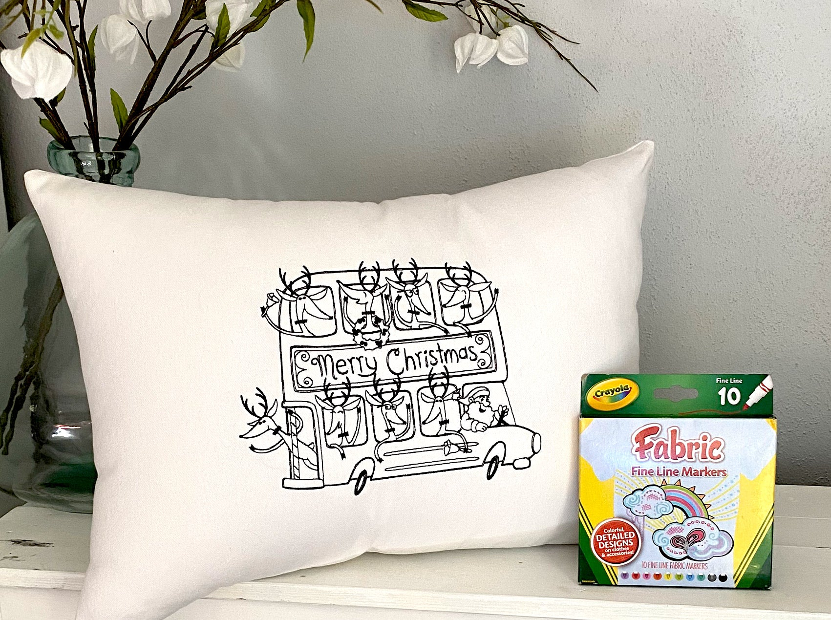 For A Cause Coloring Christmas Bus Pillow