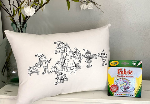 For A Cause Coloring Santa's Elves Pillow