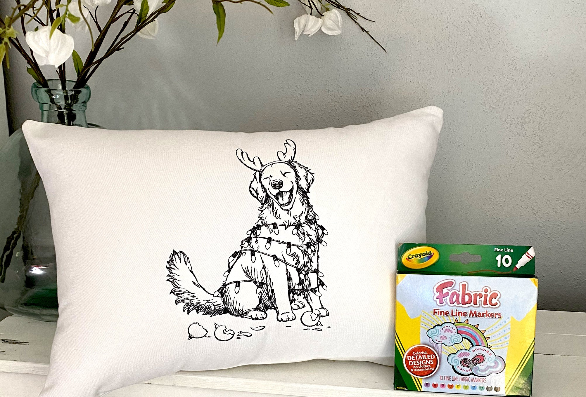For A Cause Coloring Feliz Naughty Dog Pillow