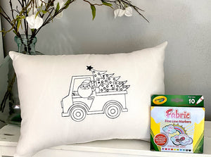For A Cause Coloring Santa's Truck Pillow