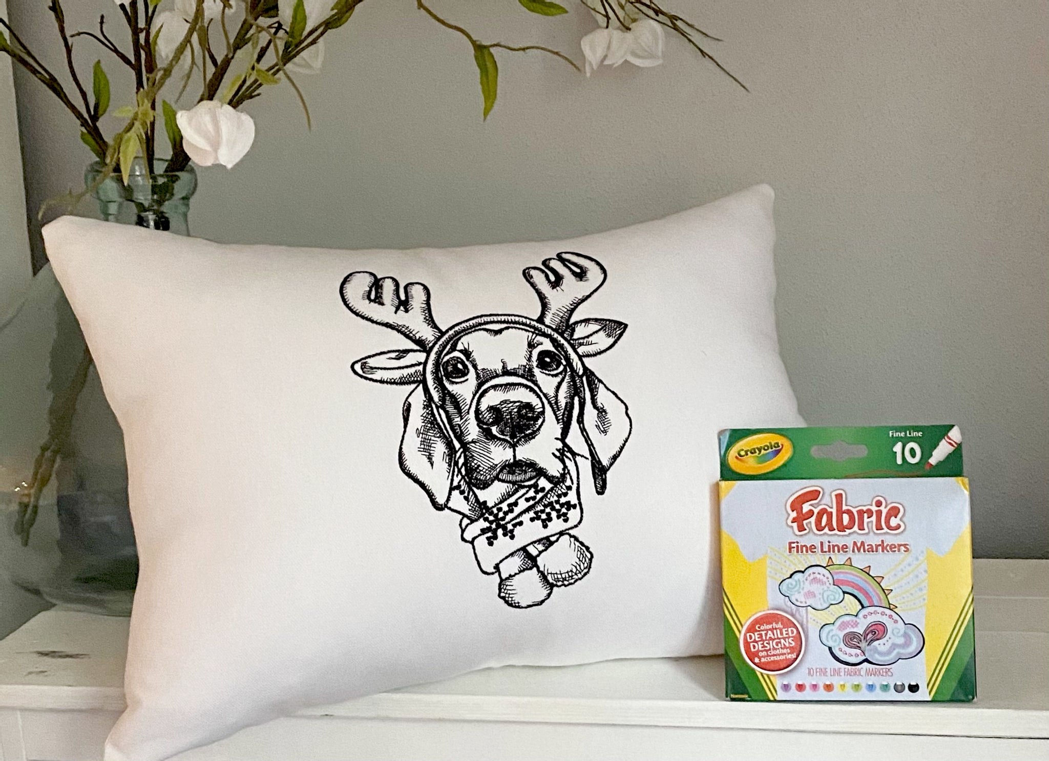 For A Cause Coloring Reindeer Lab Pillow