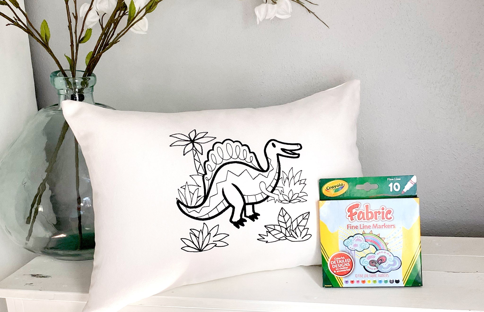 For A Cause Coloring Dinosaur Pillow