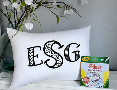 For A Cause Coloring Monogram Pillow