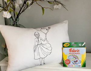 For A Cause Coloring Valentine Girl  Pillow