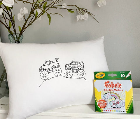 For A Cause Coloring Monster Truck Pillow