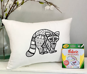 For A Cause Coloring Raccoon Pillow