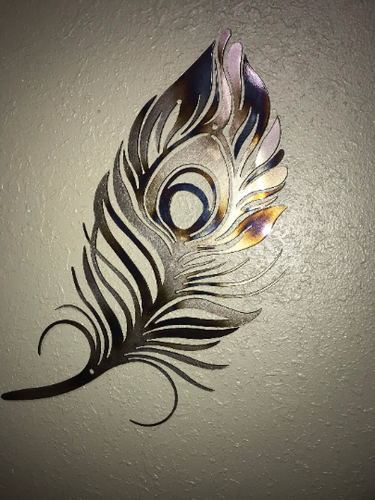 Peacock Feather Metal Wall Art - Torched