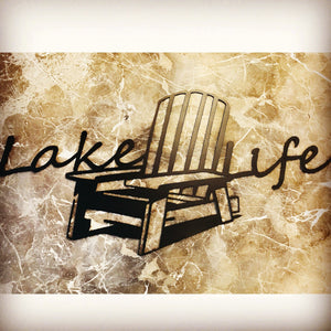 Lake Life Lounge Chair Metal Wall Art
