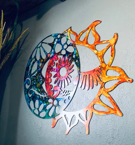 Candy Skull Sun and Moon - Metal Wall Art - Day of the Dead Art