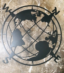 Globe Compass-- Metal Wall Art home decor