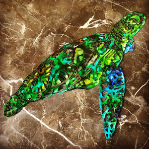 Sea Turtle Metal Wall Art - Ink Colored