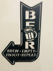 Beer sign Brew Enjoy Empty Repeat-- Metal Wall Art home decor