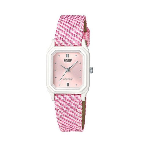 Casio Ladies Kids Pink Leather Cloth Band White Pink Dial Watch