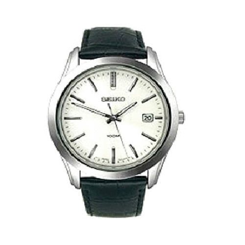 Black Leather Strap Quartz Seiko Men's Watch