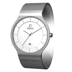 Silver Dial Stainless Steel Obaku Men's Band Watch