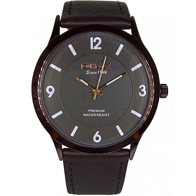 Omax Men's Leather Brown Time Zone Watch