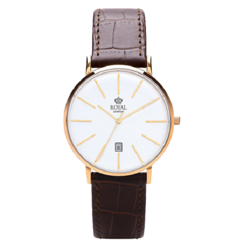Royal London White Dial Brown Leather Ladies Watch