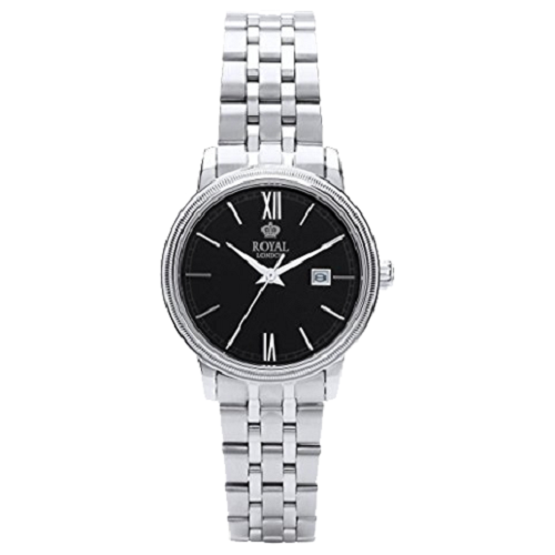Royal London Ladies Classic Black Dial Silver Quartz Date Watch