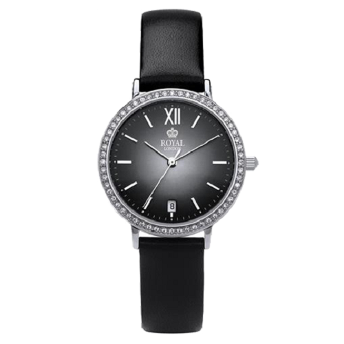 Royal London Ladies Classic Black Leather Strap Date Watch