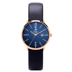 Royal London Fashion Rose Gold Blue Leather Strap Watch