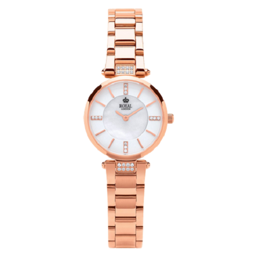 Royal London Woman White Pearl Rose Gold Stainless Steel Watch