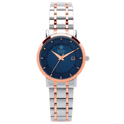 Royal London Ladies Date Silver & Rose Gold Steel Classic Watch