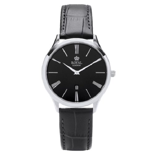 Royal London Merton Black Leather  Steel Case Watch